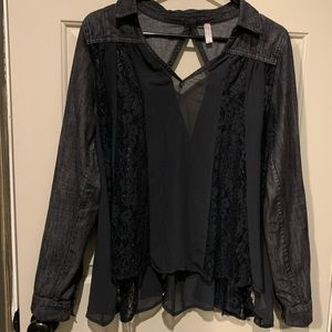 Free People denim and lace swing top